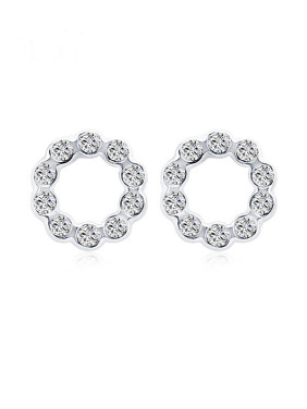 18K White Gold Round Shaped Austria Crystal Stud Earrings