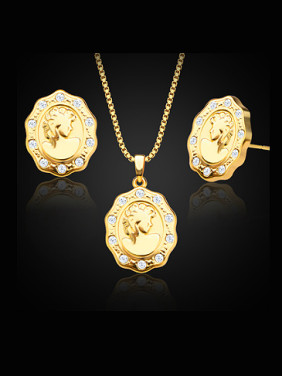 18K Gold Plated Portrait Rhinestones Two Pieces Jewelry Set