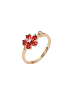 Copper Alloy 18K Gold Plated Fashion Flower Zircon Opening Ring