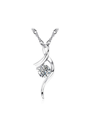 Fashion Cubic Zircon Platinum Plated Necklace