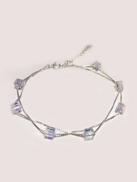 S925 Silver Fashion Double Lines Crystal Bracelet