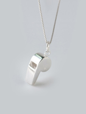 S925 Silver Fshion Personality Whistle Shape Necklace