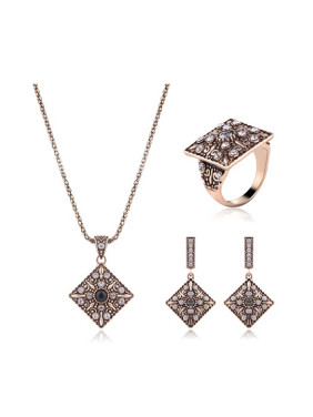 Alloy Antique Gold Plated Vintage style Artificial Stones Square Three Pieces Jewelry Set