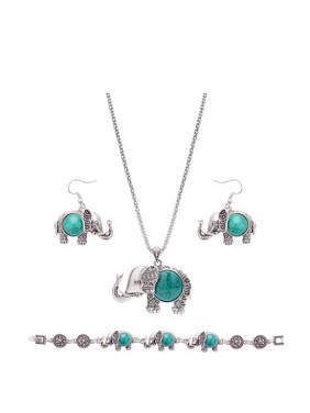 Alloy Antique Silver Plated Fashion Artificial Stone Elephant Three Pieces Jewelry Set