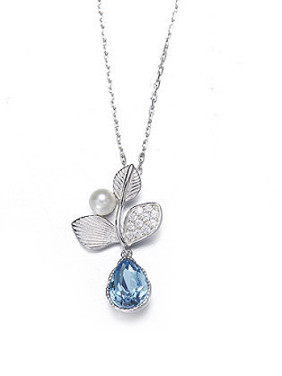Leaf-shaped Pearl Necklace