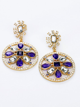 Purple Stones Round drop earring