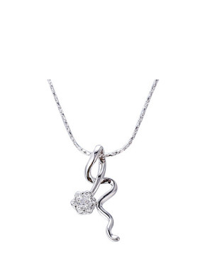 Copper Alloy White Gold Plated Simple style Zircon Necklace