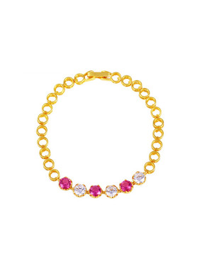 Copper Alloy 23K Gold Plated Fashion Hollow Round Zircon Bracelet
