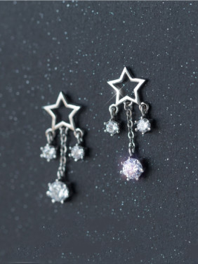 S925 Silver Elegant Fashionable Star Zircon Tassel Short Earrings