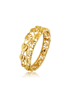 Copper Alloy 24K Gold Plated Classical Leaf Hollow Bangle