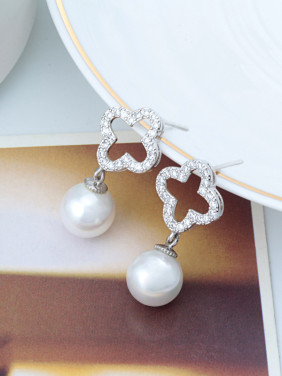 Pearl  Zircon Fashion High-grade White Gold Plated Earrings