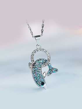 S925 Silver Dolphin Shaped Necklace