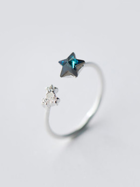 S925 Silver Small Fresh Blue Zircon Opening Ring