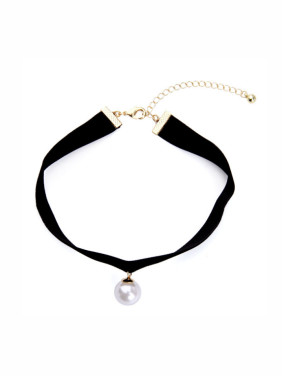 Simple Artificial Pearl Ribbon Chocker