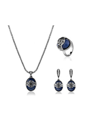 Alloy Antique Silver Plated Vintage style Oval Artificial Stone Three Pieces Jewelry Set