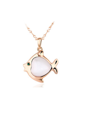 Fashion Opal 18K Rose Gold Bubble Fish Shaped Necklace