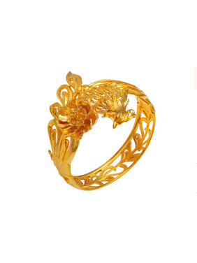 Copper Alloy 24K Gold Plated Retro style Phoenix Bangle