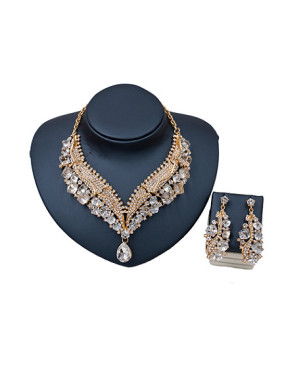 Exaggerated Irregular Glass Rhinestones Two Pieces Jewelry Set