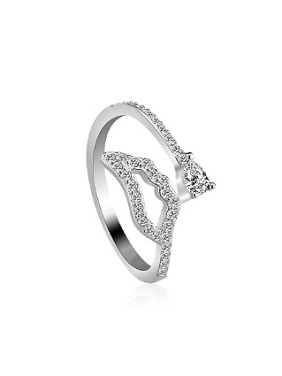 Simple Zircon Silver Opening Ring