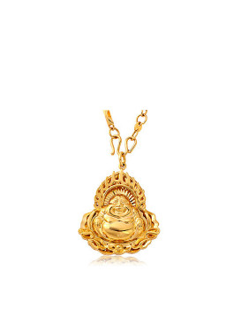 Copper Alloy 24K Gold Plated Retro style Laughing Buddha Necklace
