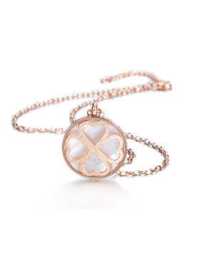 Matte Stainless Steel Shell Clover Shaped Necklace