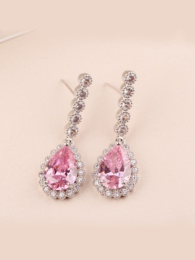 Long Teardrop AAA Pink Zircon Platinum Plated All-match Anti-allergic  stud Earring