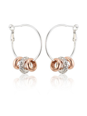 Female All-match Rose Gold Titanium Crystal hoop earring