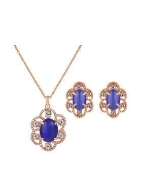 Alloy Imitation-gold Plated Fashion Artificial Stones Flower shaped Two Pieces Jewelry Set