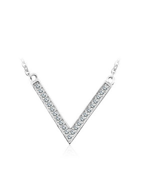 Simple V-shaped Pendant Zircon Necklace