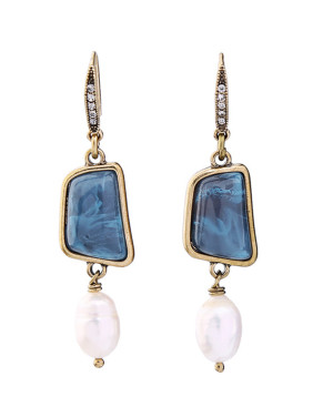 Stones Artificial Pearls drop earring