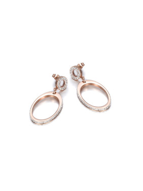 Individual Titanium Rose Gold Zircon Earrings