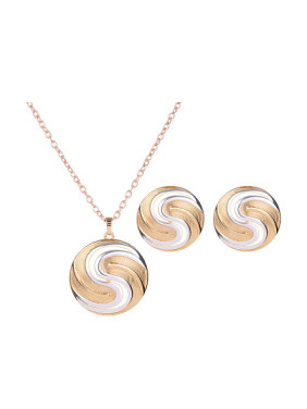 Alloy Imitation-gold Plated Fashion Round Two Pieces Jewelry Set