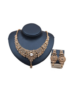 Elegant Glass Rhinestones Two Pieces Jewelry Set