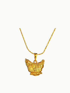 Copper Alloy 24K Gold Plated Ethnic style Zodiac Rooster Necklace