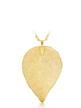 Copper Alloy 24K Gold Plated Creative Imitation Leaf Pendant