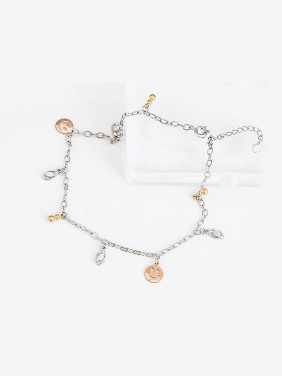 Copper Alloy Multi-gold Plated Fashion Smiling Face Zircon Anklet