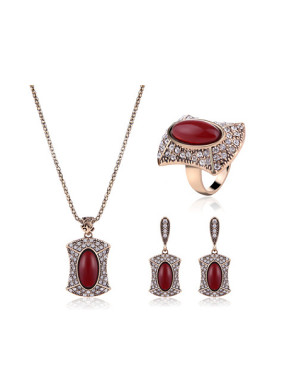 Alloy Antique Gold Plated Fashion Oval Artificial Stones Three Pieces Jewelry Set