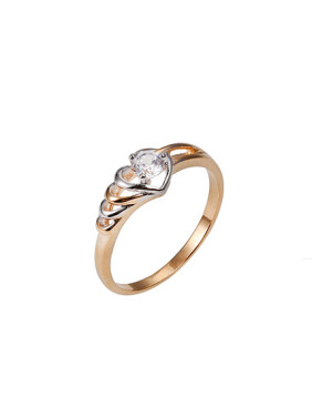 Copper Alloy Multi-gold Plated Fashion Heart-shaped Zircon Ring