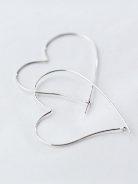 S925 silver exaggerate heart shape earrings