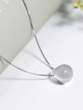 White color Silver-Plated 925 Silver Round Crystal Necklac