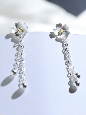 Mother's Initial Silver Drop Earring with Flower