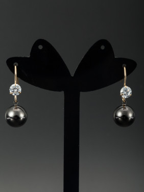 Black color Gold Plated Round Zircon Drop Earring