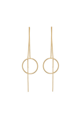Gold Plated Zinc Alloy Round Gold Beautiful Drop Earring