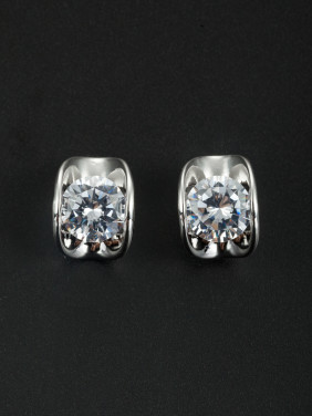 White Geometric Youself ! Platinum Plated Zircon Studs Earring