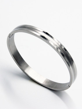 White  Bangle with Stainless steel   63MMX55MM