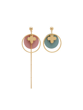 Gold Round Drop drop Earring with Gold Plated Zinc Alloy