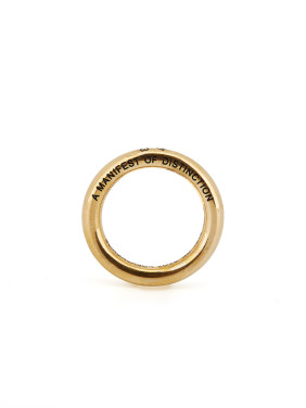 Fashion Gold Plated Titanium Monogrammed Band Ring