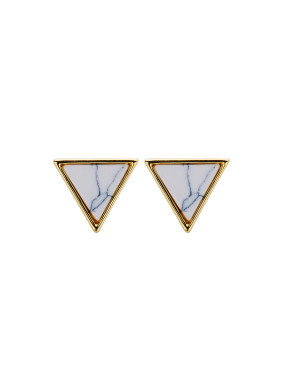 Gold Triangle Drop Earring with Gold Plated Copper Stone