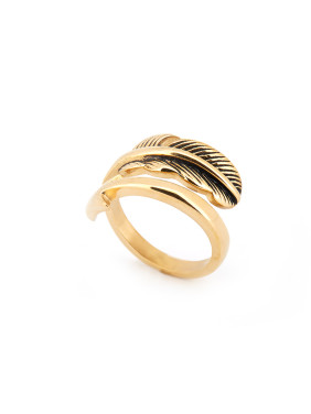 Feather style with Gold Plated Titanium Band Ring