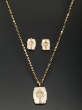 Mother's Initial Gold 2 Pieces Set with Square